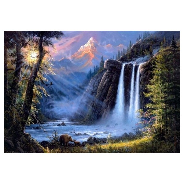 Картина-раскраска по номерам на холсте У водопада