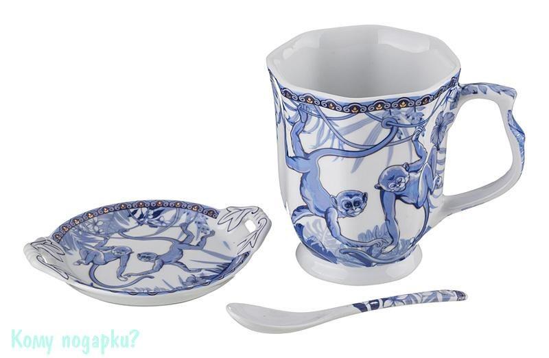 Чайный набор на 1 персону «Обезьяны на лианах», 350 мл, голубой