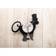Часы из виниловой пластинки Обезьяна в цилиндре