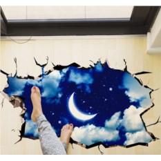 Напольный 3D-стикер Месяц и звезды