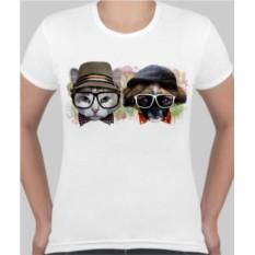 Женская футболка Кот в очках, собака в очках
