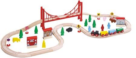 ROYS  Деревянный набор Железная дорога с большим мостом