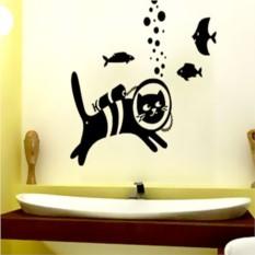Наклейка на стену Кот-водолаз