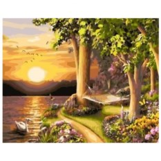Картина-раскраска по номерам на холсте Нежный закат