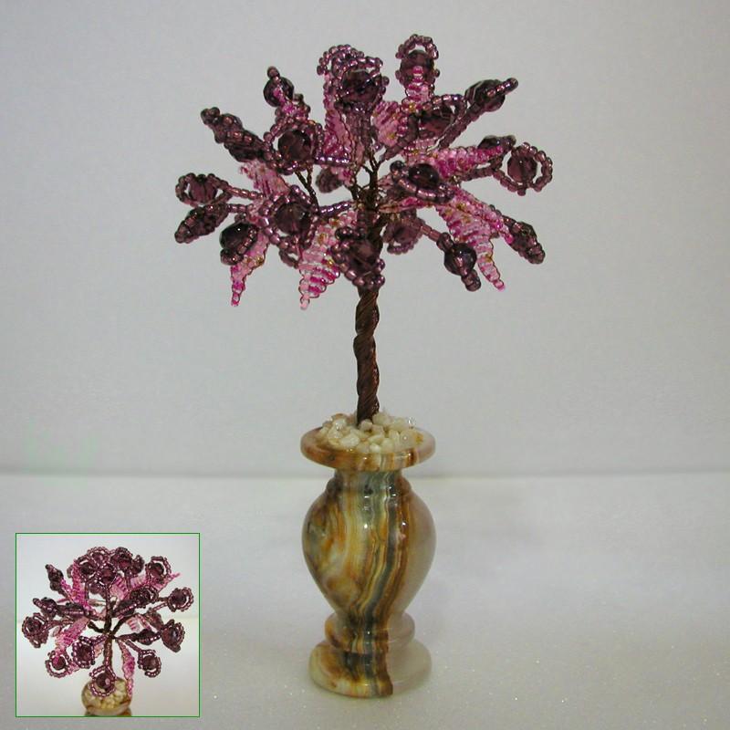 Дерево счастья из раухтопаза в вазочке из оникса