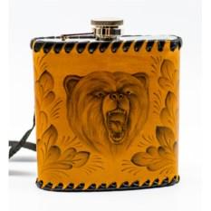 Фляга в натуральной коже с выжиганием Медведь