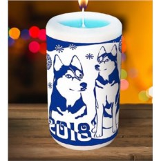 Новогодняя свеча «Хаски»
