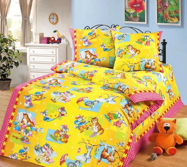 Жёлто-розовое детское постельное белье из бязи Cleo
