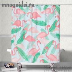 Шторка для ванной комнаты Озеро, где живут фламинго