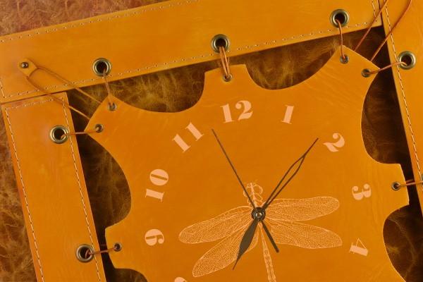 Часы из кожи Стрекоза (коричневато-жёлтый)