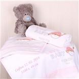 Комплект розовых детских полотенец с именной вышивкой