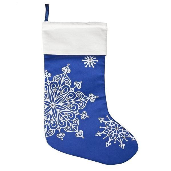 Синий носок для подарков Снежинки