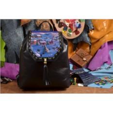 Женский кожаный черный рюкзак Заснеженный городок