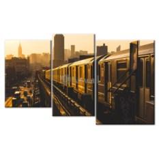Модульная картина «Поезд наземного метро» 75×47 см