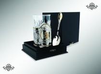 Серебряный набор Георгий Победоносец, с позолотой, 2 предмета