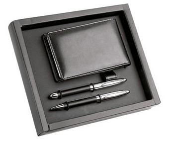 Набор: шариковая ручка и ручка роллер, визитница с блокнотом