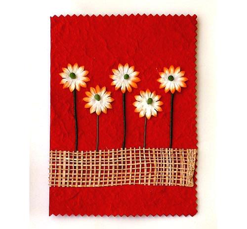 Открытка с декоративными цветами