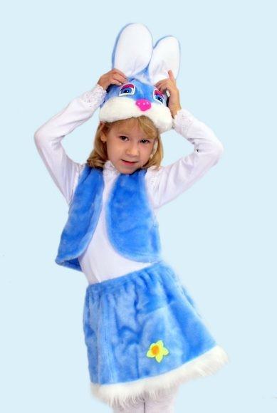 Карнавальный костюм Заяц (головной убор, жилет, юбка)