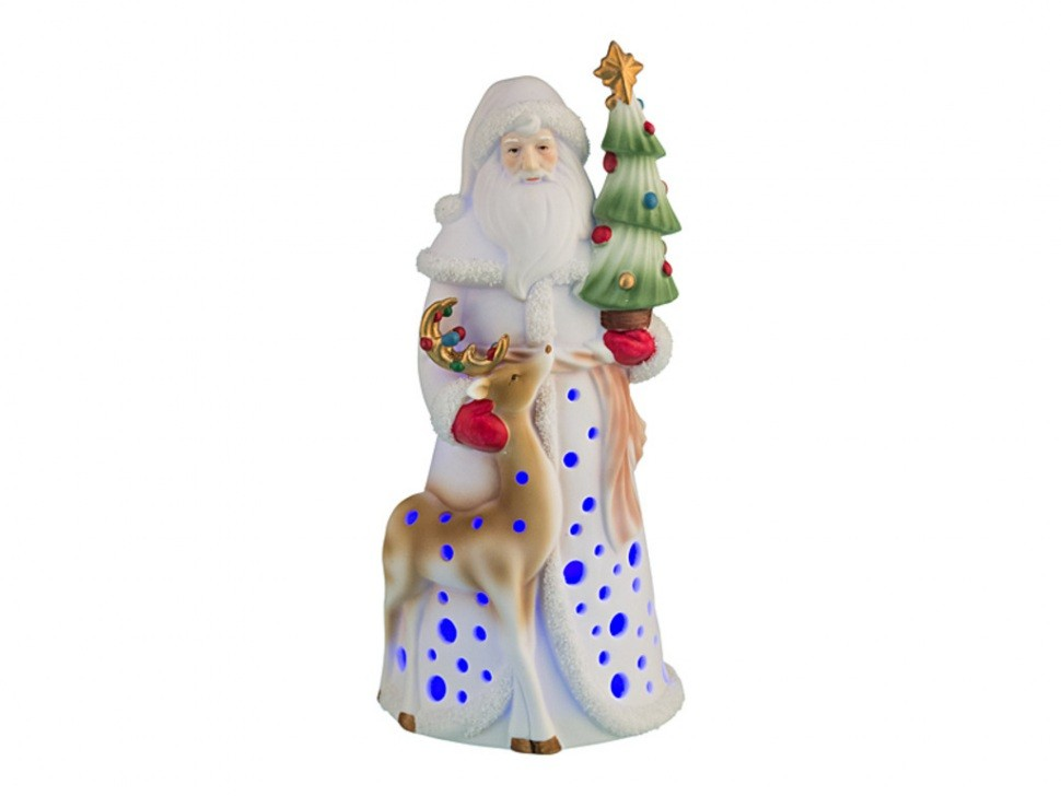 Фигурка с подсветкой Дед мороз с оленем и ёлкой