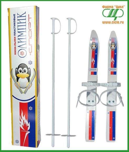 Детские лыжи Олимпик-спорт с палками, пластиковые