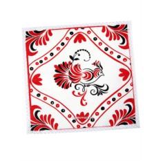 Красная салфетка Птица с кружевом