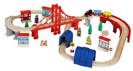 ROYS Деревянный набор Железная дорога с мостом и туннелем