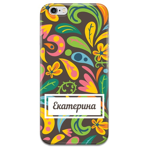 Именной чехол для iPhone «Цветы»