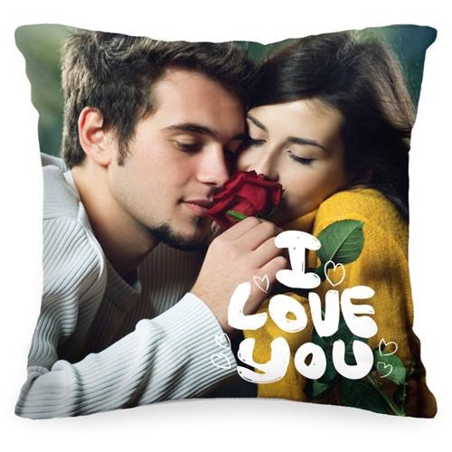 Подушка с Вашим фото «I love you»