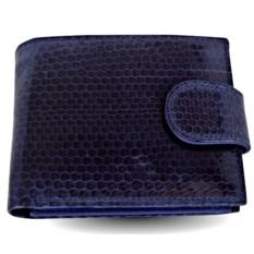 Синий мужской кошелек из кожи морской змеи