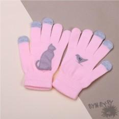 Розовые тouch-перчатки Серый кот