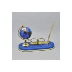 Синий настольный письменный набор с глобусом Gift