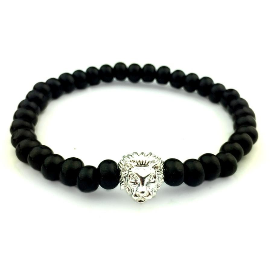 Мужской браслет из черных деревянных бусин с головой льва