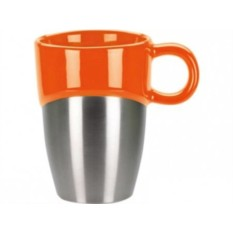 Оранжевая кружка с металлической вставкой на 300 мл