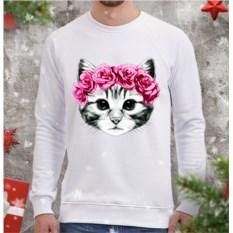 Мужской свитшот Котенок и розы