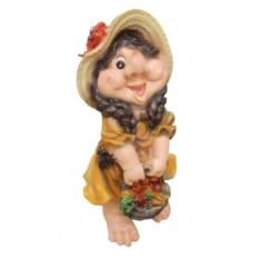 Декоративная садовая фигура Девочка-гном с корзинкой