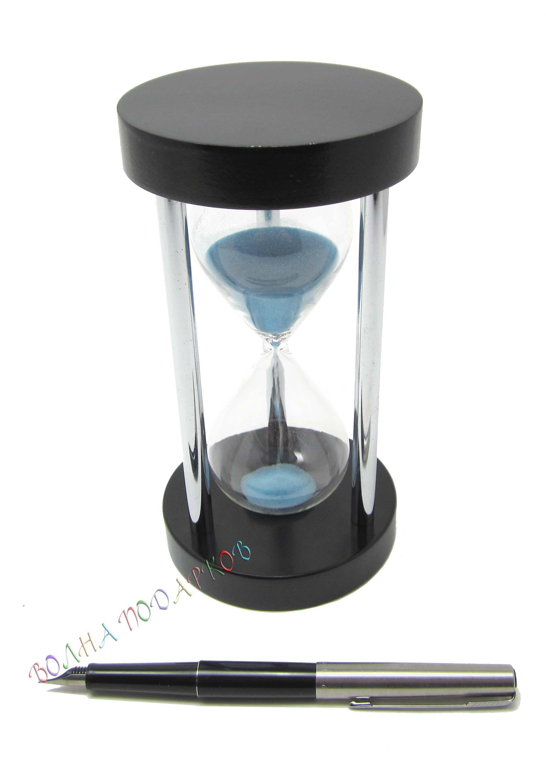 Часы песочные 5 минут синий песок, металлические ножки