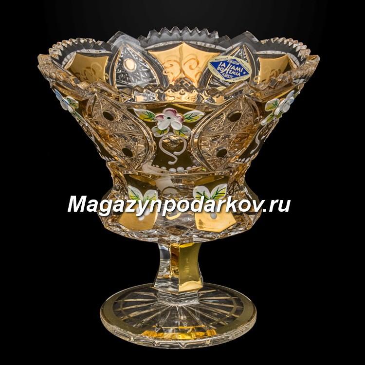 Конфетница на ножке Bohemia Яхами золото, 16,5 см
