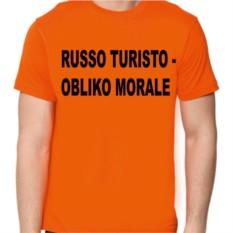 Футболка с надписью Russo turisto - obliko morale