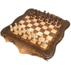Большие резные шахматы и нарды Арарат