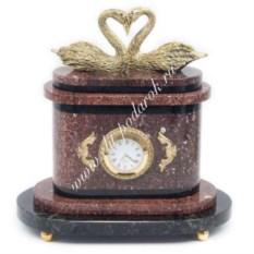 Часы из бронзы и креноида Пара лебедей