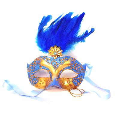 Полумаска с перьями голубая