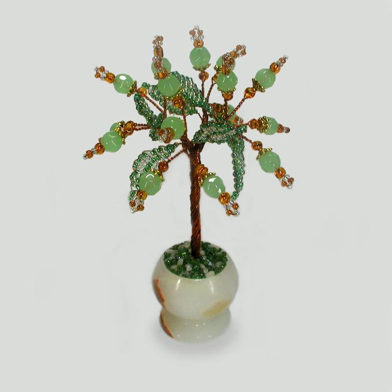 Миниатюрное дерево здоровья из нефрита в вазочке из оникса