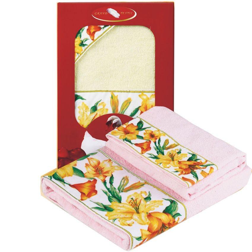 Набор махровых полотенец (Цвет : персиковый)