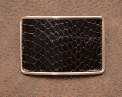 Пряжка для ремня с кожаной вставкой. Коллекция G.Design (черный, змея; нат. кожа)