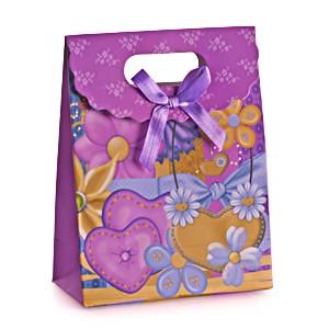 Пакет подарочный Сердца, цветы