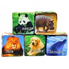 Мягкие детские кубики Животные