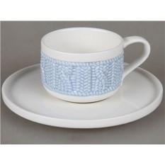 Чайная пара из чашки 90 мл и блюдца Rosenberg (цвет голубой)