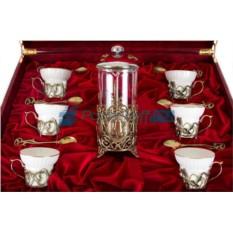 Чайный сервиз с френч-прессом на 6 персон Ирисы