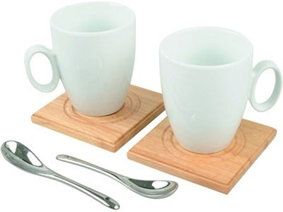 Чайный набор (2 чайные пары, 2 дерев. подставки, 2 ложки)