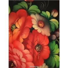 Круглый поднос Цветы в центре на бордовом (Жостово)
